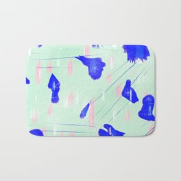 Abstract design pink and blue Bath Mat