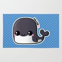killer whale Area & Throw Rugs featuring Kawaii Killer Whale by Katie White
