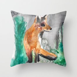 Shitty Fox in Field Throw Pillow