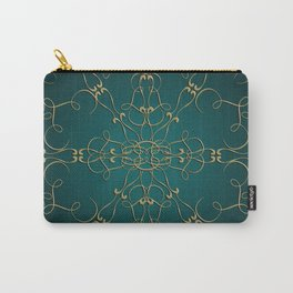 Gold Teal Mandala Carry-All Pouch