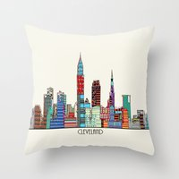 cleveland Throw Pillows featuring Cleveland city  by bri.buckley