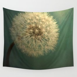 Dark Teal Texture with Dandelion Soft White Flower Wall Tapestry