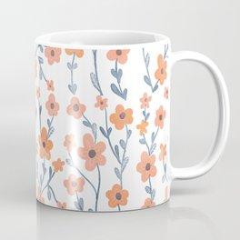 Orange Blue Foral Pattern Coffee Mug