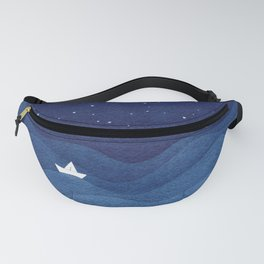 blue ocean waves, sailboat ocean stars Fanny Pack
