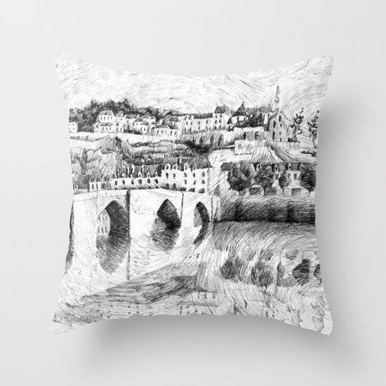 Terrasson village - Black ink Throw Pillow