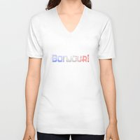 bonjour V-neck T-shirts featuring Bonjour! by UMe Images