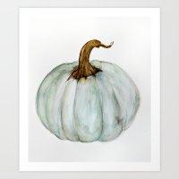 craftberrybush Art Prints featuring Blue-Gray Cinderella Pumpkin - Watercolor  by craftberrybush