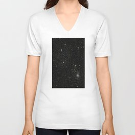 Universe Space Stars Planets Galaxy Black and White Unisex V-Neck