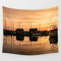 denmark Wall Tapestries featuring Sunrise at the sea by UtArt