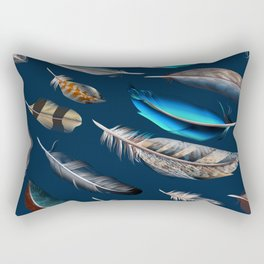 Feather blue. In fashion. Trendy pattern Rectangular Pillow
