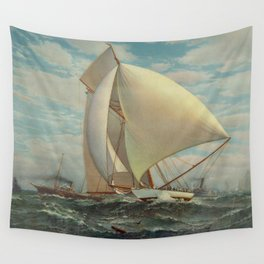 Vintage Painting of a Fast Sloop Sailboat (1895) Wall Tapestry