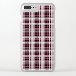 Pink and gray plaid Clear iPhone Case