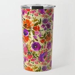 Modern hand painted pink orange purple watercolor floral Travel Mug