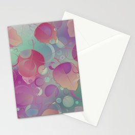 Floating Leaves Pattern II - Red Purple, Autumn Stationery Cards
