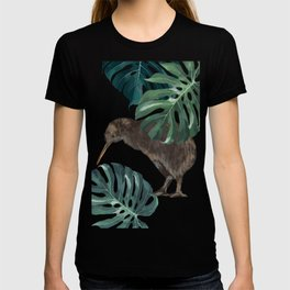 Kiwi Bird with Monstera in Pink T-shirt