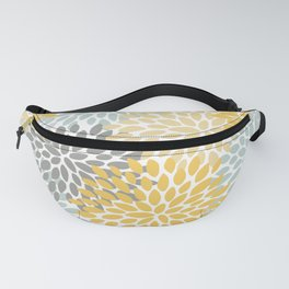 Floral Pattern, Yellow, Pale, Aqua, Blue and Gray Fanny Pack