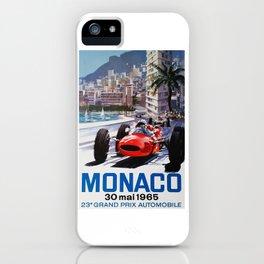 Grand Prix Monaco, 1965, vintage poster, race poster iPhone Case