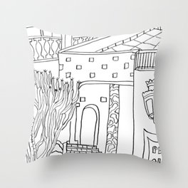 The Terrace And Place Of Olé - Drawing Throw Pillow