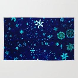 Blue Christmas Snowflakes Pattern Rug
