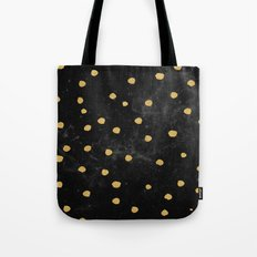 Galaxy Space Pattern - Gold Dots on Black Stars Tote Bag