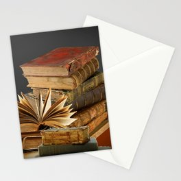 DECORATIVE  ANTIQUE LEDGERS, LIBRARY BOOKS art Stationery Cards