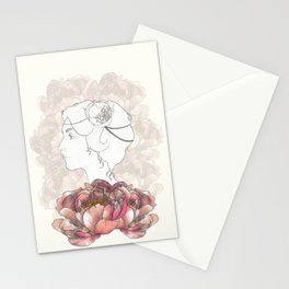 Portrait & Peonies yellow Stationery Cards