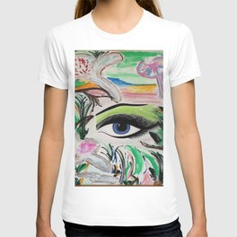 The Rain Forest Original Painting by Jodi Tomer. Blue Eye Abstract Artwork. T-shirt