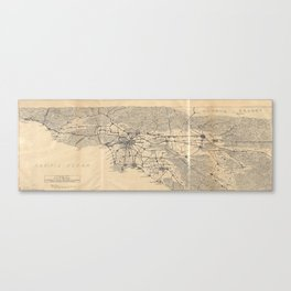 Vintage 1915 Los Angeles Area Map Canvas Print