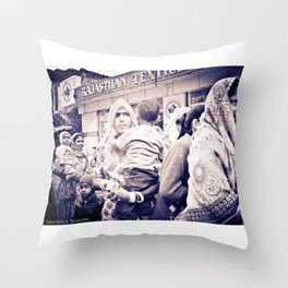 Three Women Two Children Throw Pillow