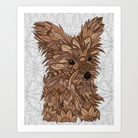 yorkie Art Prints featuring Cute Yorkie by ArtLovePassion