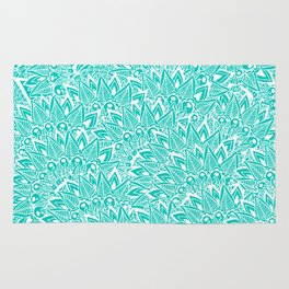 Bright turquoise modern floral paisley mandala Rug