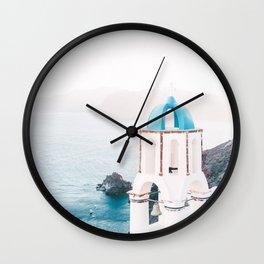 Santorini Greece Mamma Mia Church Photography Wall Clock