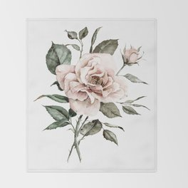Faded Pink Rose Throw Blanket