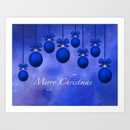 Merry Christmas Ornaments Bows and Ribbons – Blue Art Print
