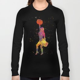 young woman Cheerleader Art Girl Poms Dance in watercolor 09 Long Sleeve T-shirt