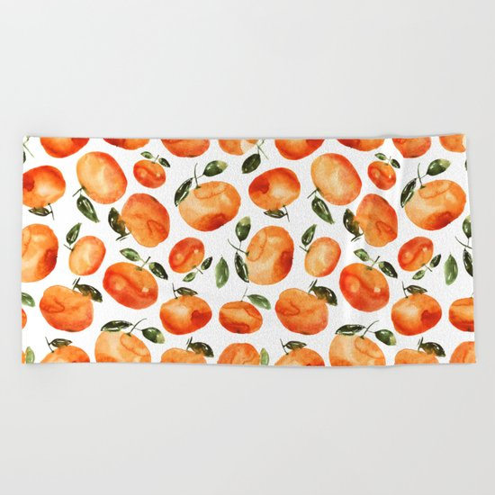Watercolor tangerines Beach Towel