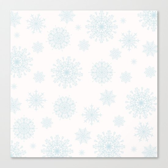 Assorted Light Blue Snowflakes On White Background Canvas Print