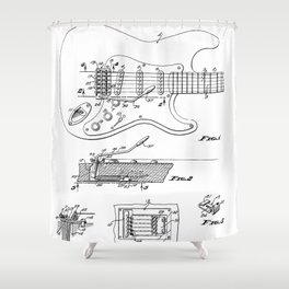 Guitar Tremelo Patent - Guitarist Art - Black And White Shower Curtain