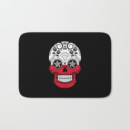 Sugar Skull with Roses and Flag of Poland Bath Mat