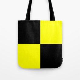 Bright Fluorescent Yellow Neon & Black Checked Checkerboard Tote Bag