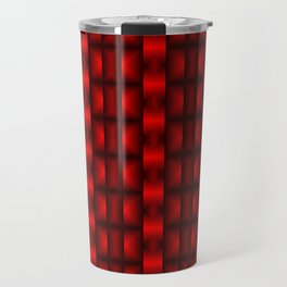 Fashionable large floral from small red intersecting squares in stripes dark cage. Travel Mug