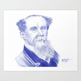 Charles Dickens Portrait In Blue Bic Ink Art Print