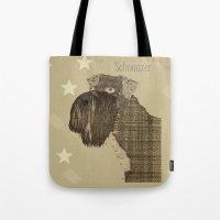 schnauzer Tote Bags featuring Schnauzer  by bri.buckley