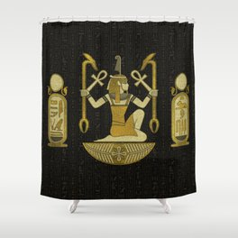 Egyptian Ornament Gold on black with hieroglyphs Shower Curtain
