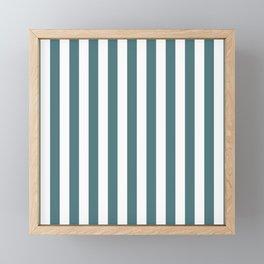 Beetle Green and White Vertical Beach Hut Stripes Framed Mini Art Print
