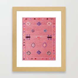 N61 - Lovely Pink Traditional Boho Farmhouse Moroccan Style Artwork Framed Art Print