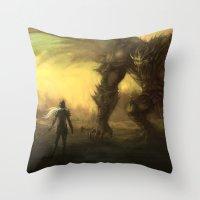 war Throw Pillows featuring War  by leonardoariza