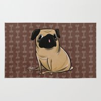 pug Area & Throw Rugs featuring Pug by Sandra Rivas