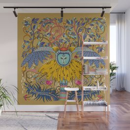 Owl in gold kingdom Wall Mural