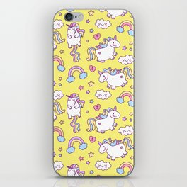 Seamless unicorn pattern with clouds, hearts, and rainbow on yellow background iPhone Skin